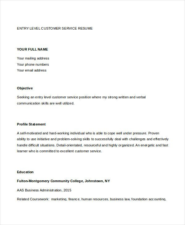 Resume Objectives For Customer Service Entry Level Customer Service Resume  Customer Service Manager