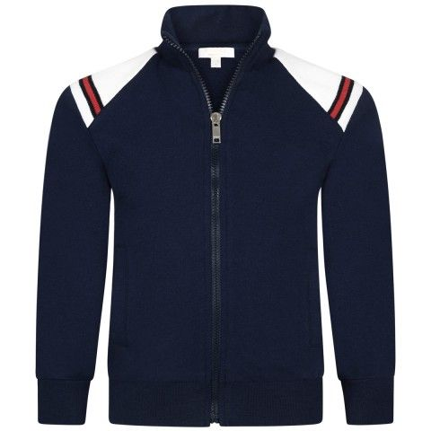 d7cc382817f43 GUCCI Baby Boys Navy Jersey Cotton Zip Up Top