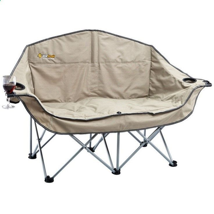 Oztrail Moon Double Chair With Arms Camp Furniture Camping And Tramping Gear Bivouac Online Store Camping Chairs Camping Glamping Camp Furniture