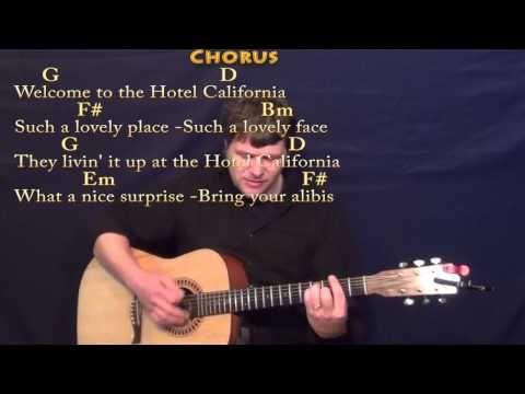 Hotel California Strum Guitar Cover Lesson With Chords Lyrics Lyrics And Chords Guitar Strumming Guitar Lessons