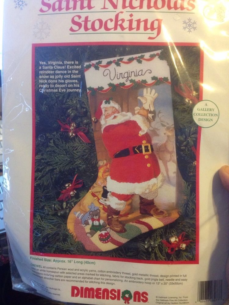 "Saint Nicholas Stocking Christmas Crewel Kit Retired NIP 16"" Dimensions 8077"