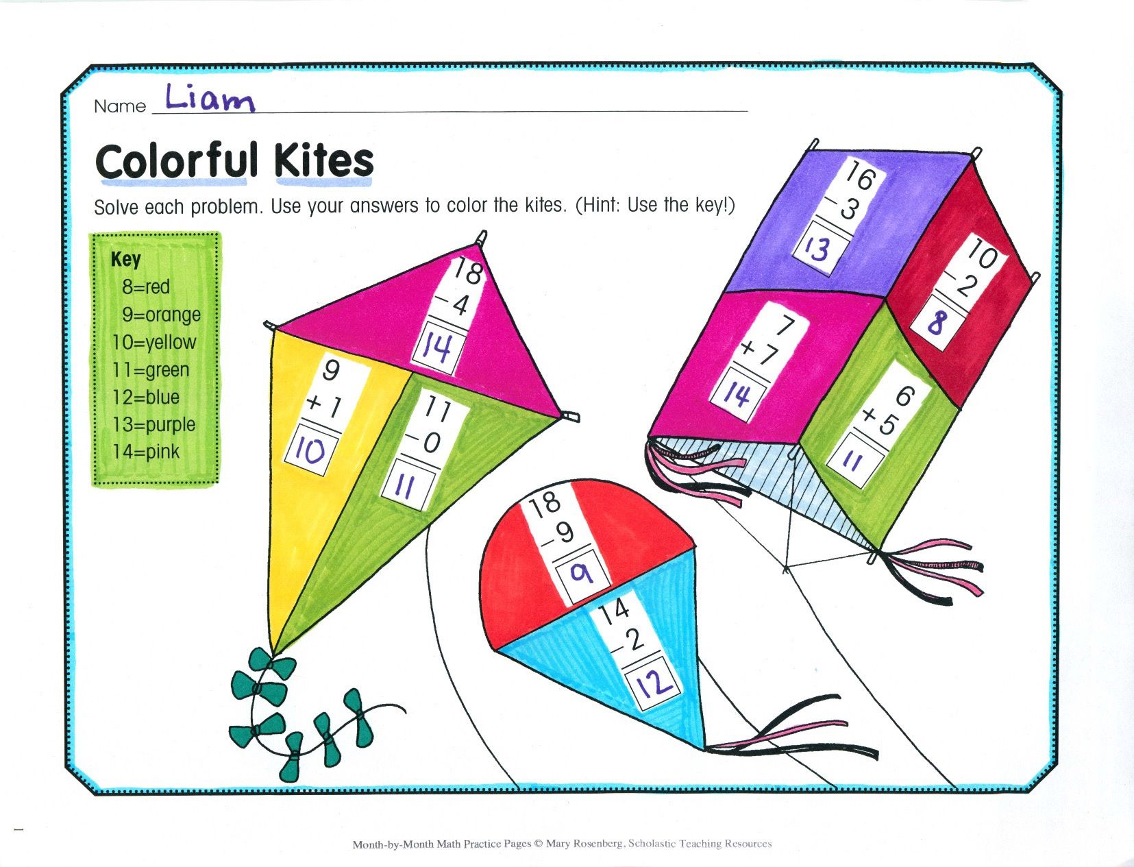 Children Solve Vertical Addition And Subtraction Problems Then Follow A Key To Color Each Kite This Fun And Interactive Math P Math Practices March Math Math Vertical adding and subtracting
