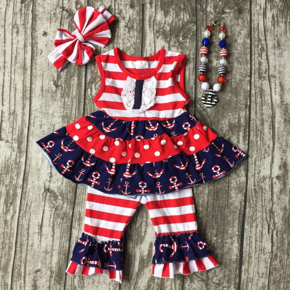 14.99$  Buy here - http://alij21.shopchina.info/go.php?t=32807492497 - baby girls summer capri clothing children July 4th Patriotic clothes girl red stripe top with anchor ruffle with accessories  #buychinaproducts
