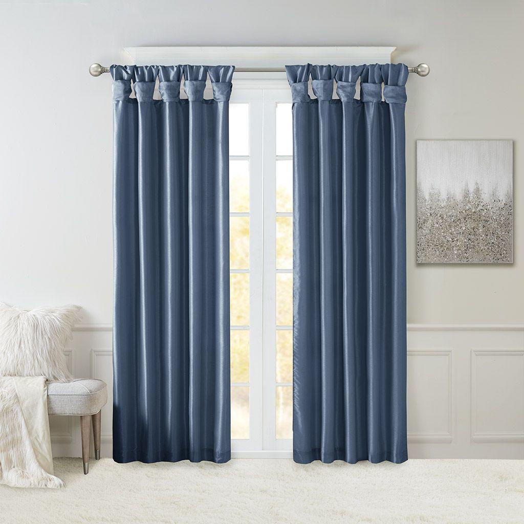 Madison Park Emilia Twist Tab Lined Window Curtain Teal 120