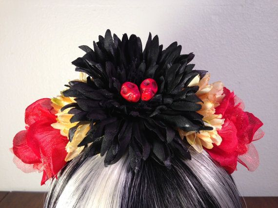 FLOWER CROWN Flower Headband Black Red by LaCatrinaDeSanDiego, $25.00