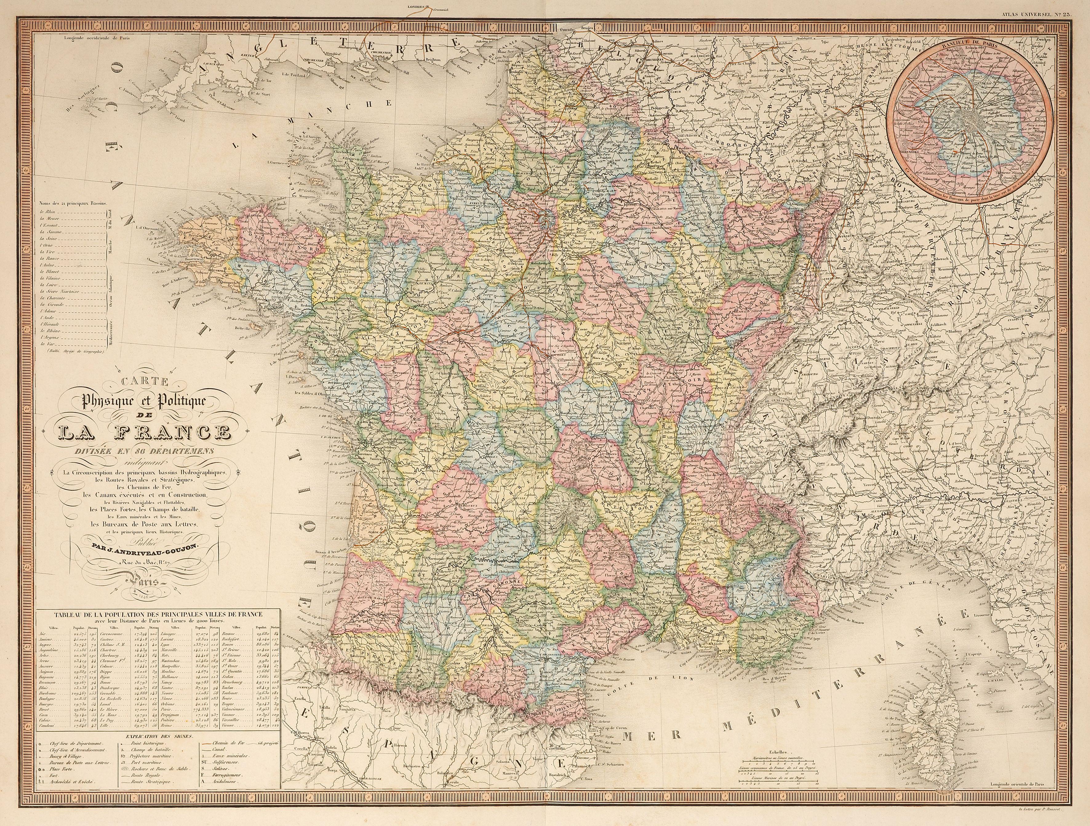 Large Scale Map Of France.Title Carte Physique Et Politique De La France Divisee En