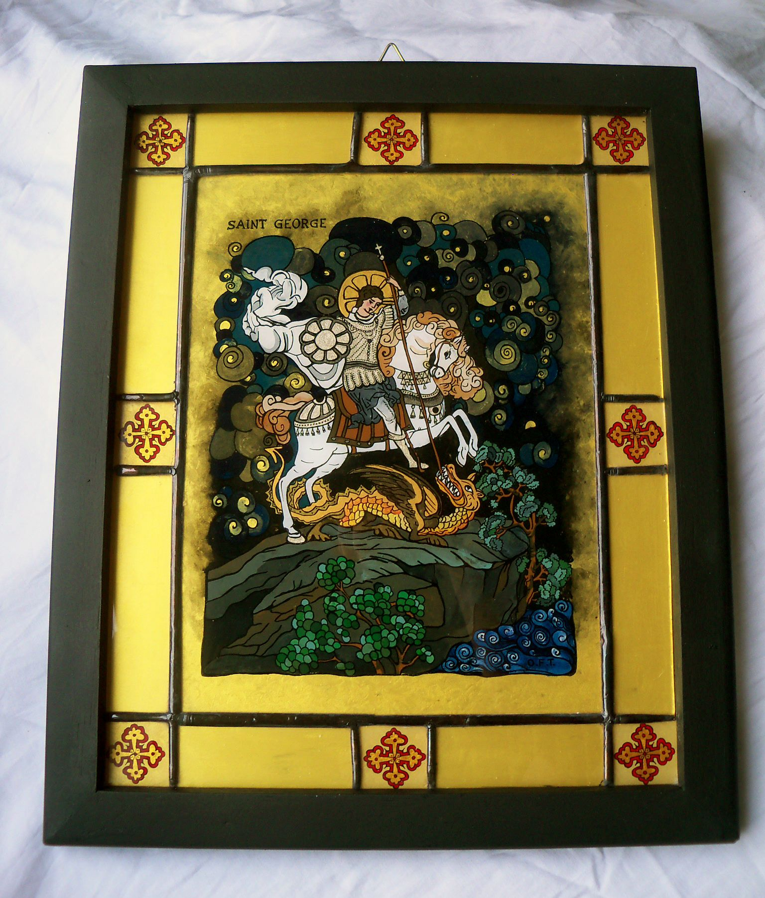 Reverse Painting On Glass Icon Depicting Saint George Slaying The