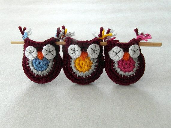 Crochet Owl Decoration  Owls Set of 3 by SandrasCrochets on Etsy, $21.00