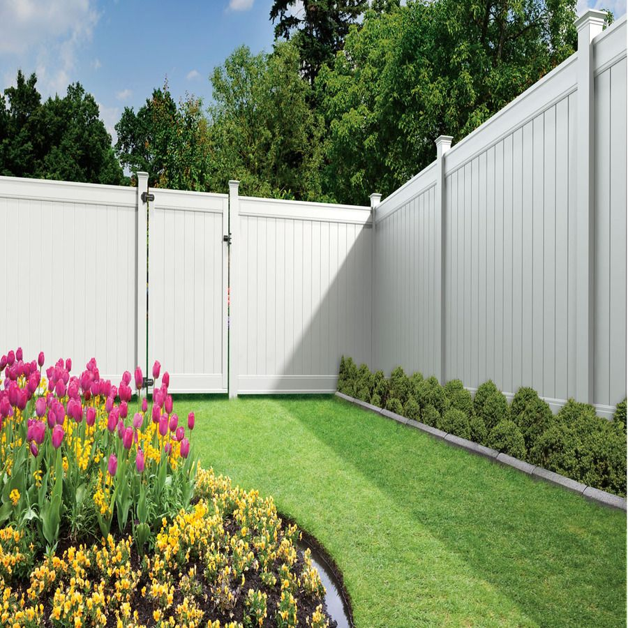 Shop gatehouse emblem 6 ft x 8 ft white flat top privacy vinyl freedom ready to assemble emblem white vinyl privacy fence panel common x actual fence panel kit assembly required works with baanklon Image collections