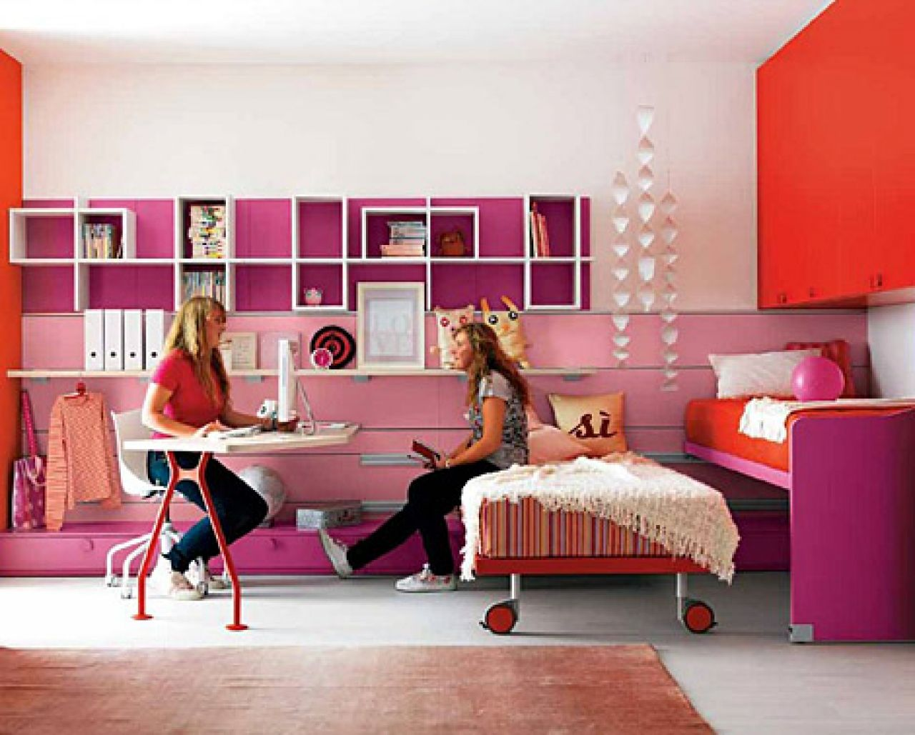 Bedroom Beauteous Teenage Girls Bedroom Design Inspiration For Twins With Pink Platform Bed A Bedroom Design Inspiration Small Room Design Girl Bedroom Designs