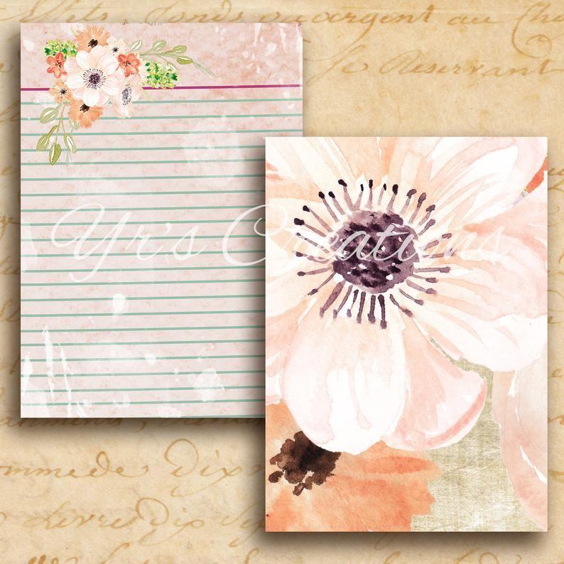 Digital Floral Paper Vintage Paper Pink Peachy Printable Etsy In 2020 Vintage Paper Etsy Printables Collage Sheet