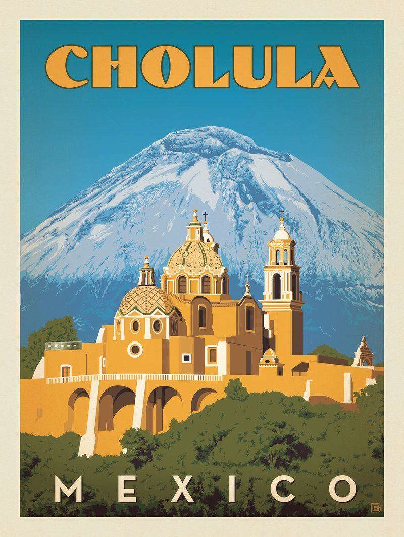 Anderson Design Group World Travel Mexico Cholula Travel Posters Vintage Postcards Travel Mexico Travel