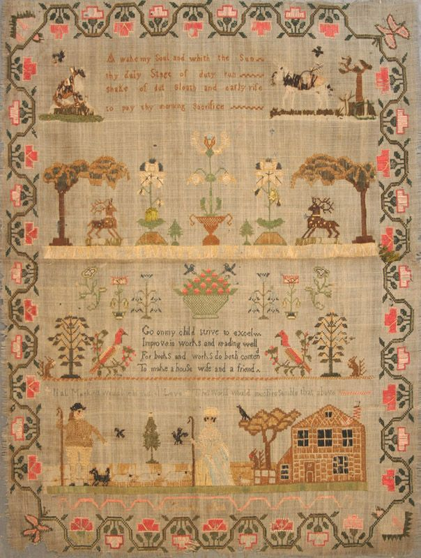 Late 18th/early 19th Century needlework sampler, worked by Dorothy Ash