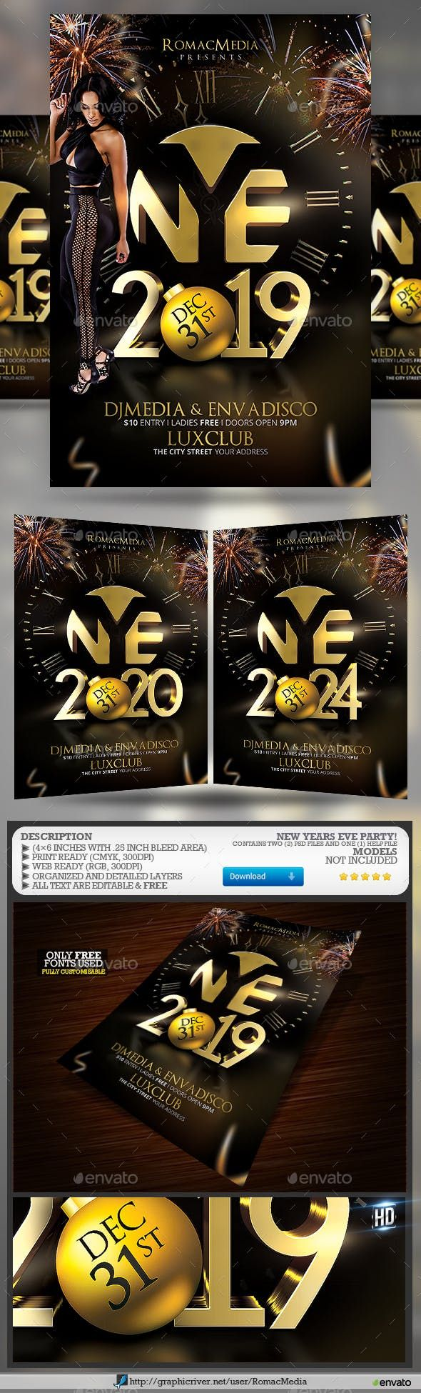 New Years Eve New years eve, Party flyer, New years party