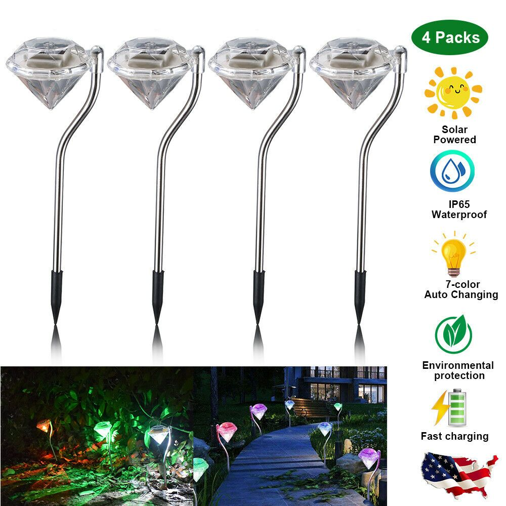 4x 7 ColorChanging Solar Lights Outdoor Garden LED Light