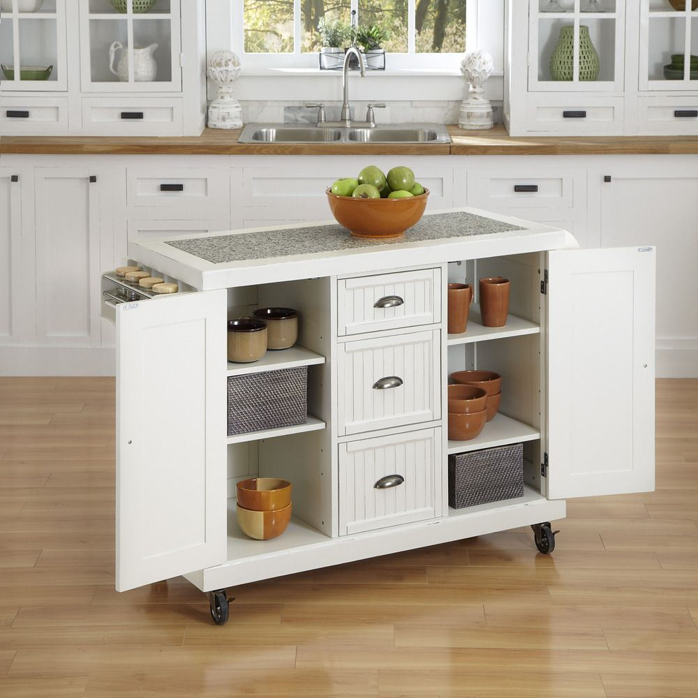 Nantucket Distressed Kitchen Cart - Overstock™ Shopping - Great ...
