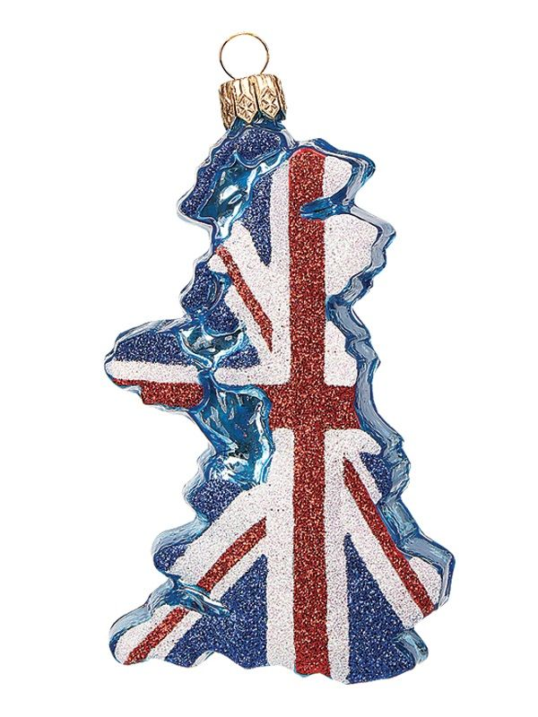 United Kingdom Country Flag Outline Polish Mouth Blown Glass - polish christmas decorations