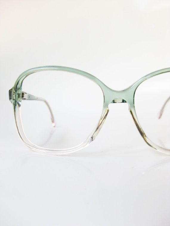 98b54b444b Vintage Green Glasses 1970s Oversized Eyeglasses Optical Frames ...