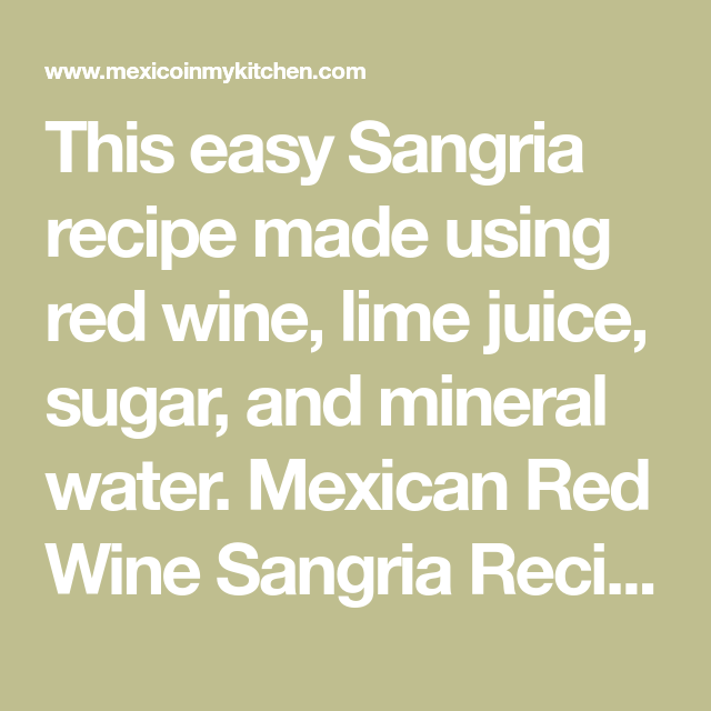 Authentic Sangria Recipe