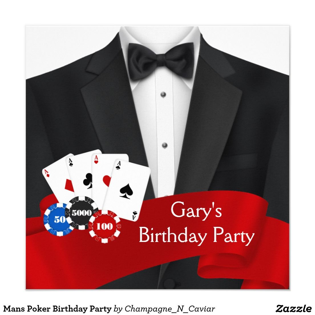 Mans Poker Birthday Party Invitation | Poker, Party invitations and ...