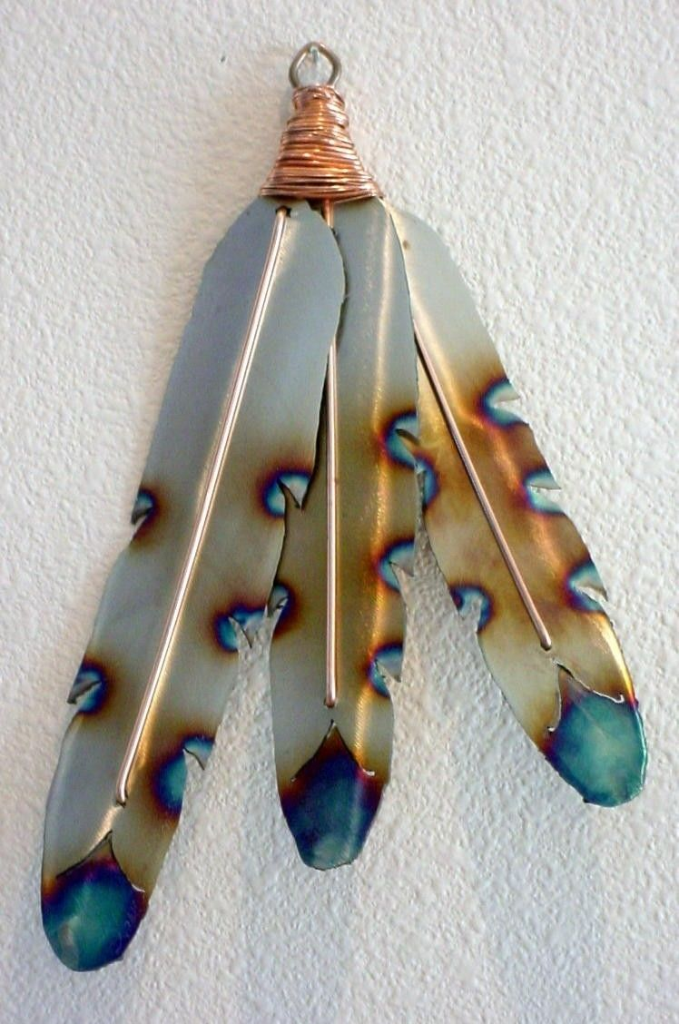 Native American Indian Style Metal Feathers Steel Wall Art Southwest Old  West Home Decor