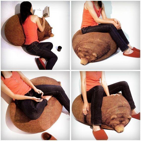 Pleasant Big Sleeping Grizzly Bear Beanbag Free Shipping World Wide Machost Co Dining Chair Design Ideas Machostcouk