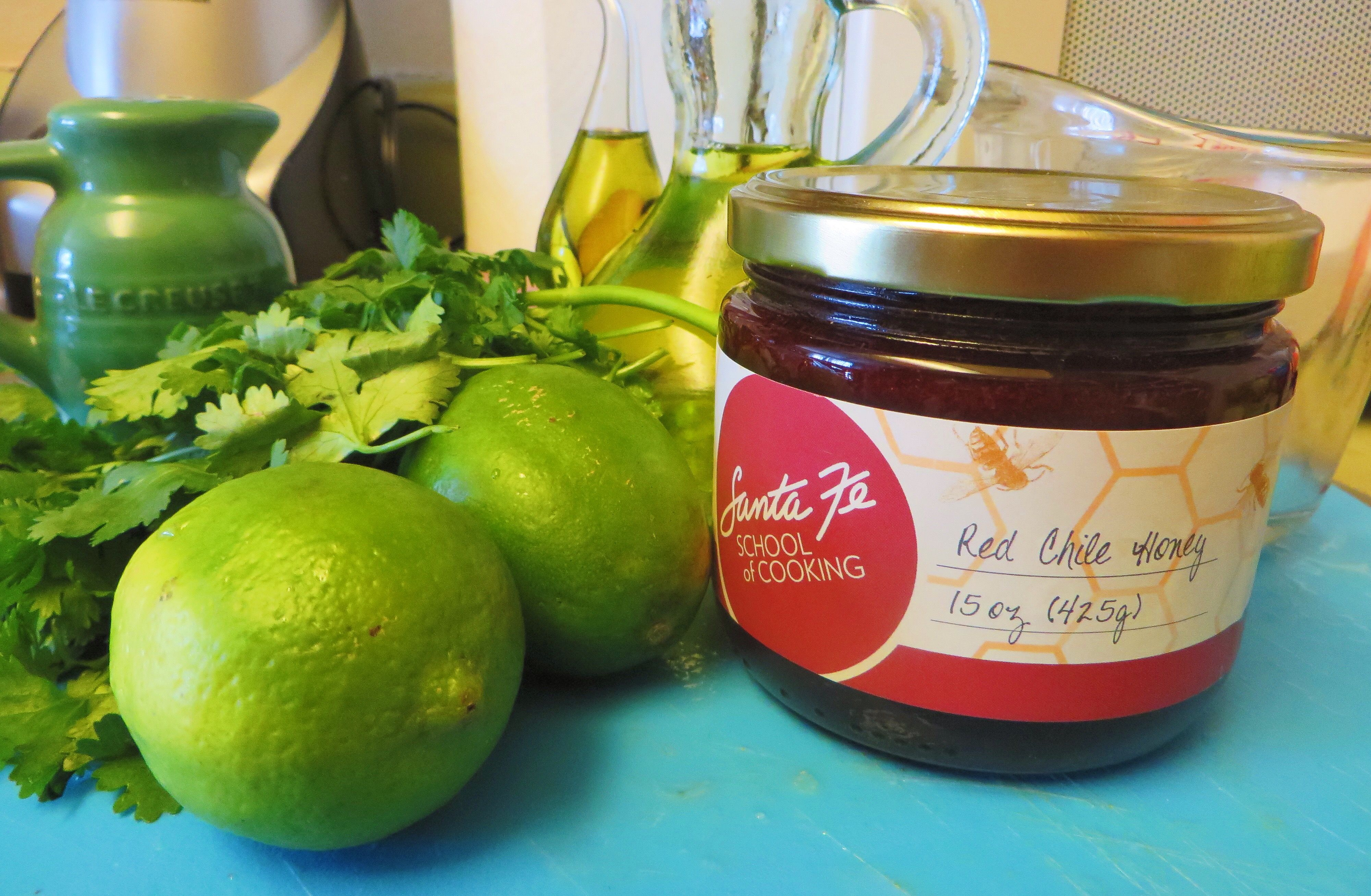 Special delivery! Red chile honey from Santa Fe School of Cooking completes the ingredient list for my salad dressing.