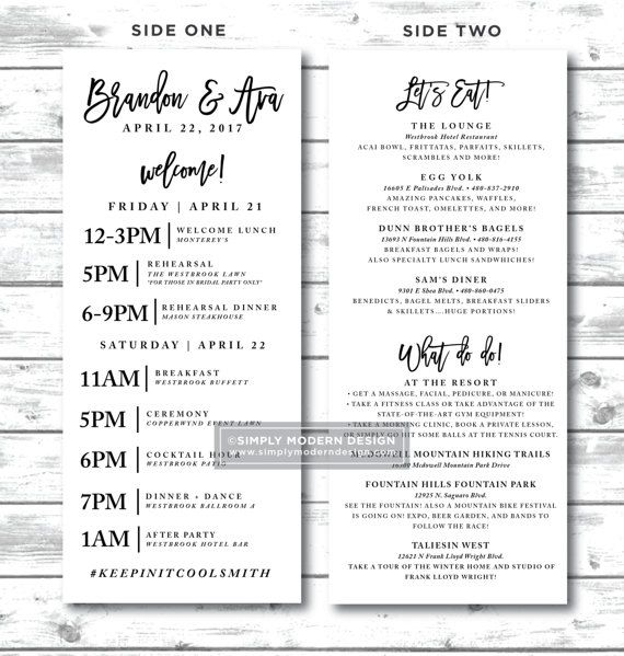 Modern Wedding Itinerary Timeline Guest Schedule Order Of Etsy Wedding Itinerary Wedding Itinerary Template Destination Wedding Itinerary