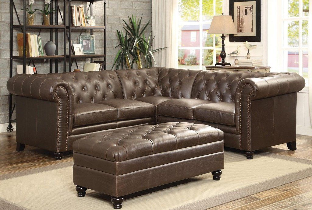Roy On Tufted Sectional Sofa With Ottoman