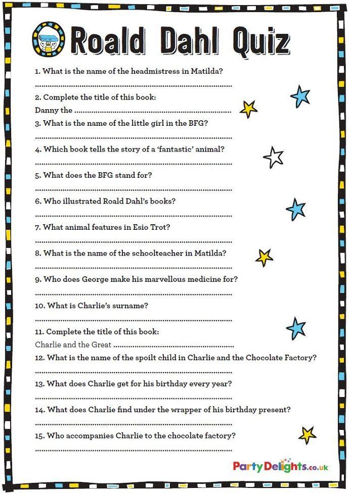 Free Printable Roald Dahl Quiz Roald dahl, Free games