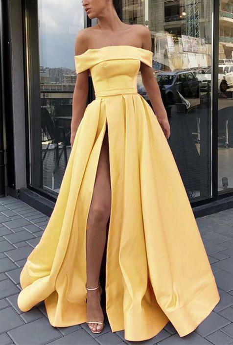 Sexy Split Leg Yellow Long Prom Gown Women Formal Evening Dress Vestido Longo 2020 PL06022