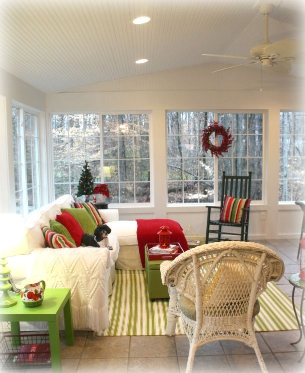 Interior Sunroom Addition Ideas: My Sunroom Is Ready For Christmas...Now All We Need Is A