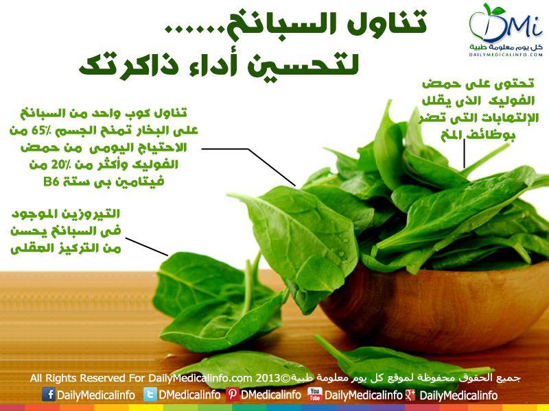 انفوجرافيك تناول السبانخ وحسن من أداء ذاكرتك Health Facts Food Vegetable Benefits Organic Health