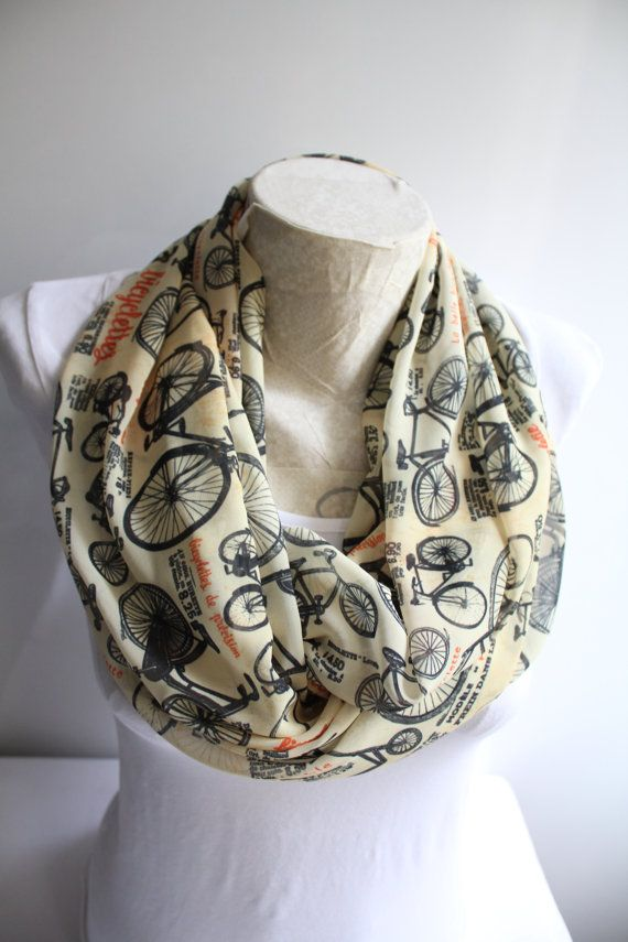 Bicycle Scarf  Bicycle Printed Infinity Scarf  by dreamexpress