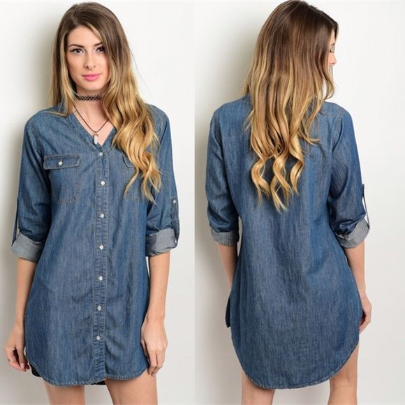 Denim Shirt Dress Wear this piece as a dress, a tunic, or even a light jacket! This Dark Denim Shirt Dress features a button front, adjustable length sleeves, and a v neck line. This universal piece is a closet staple you can wear all year round!  100% Cotton Dresses