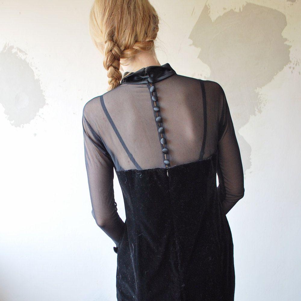 S dramatic black velvet and mesh dress by retrospectrovintage
