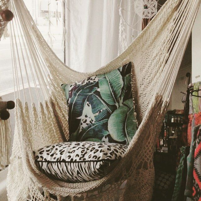 Hanging Hammock Chair With Macrame **Solid Color** Swing Chair ...