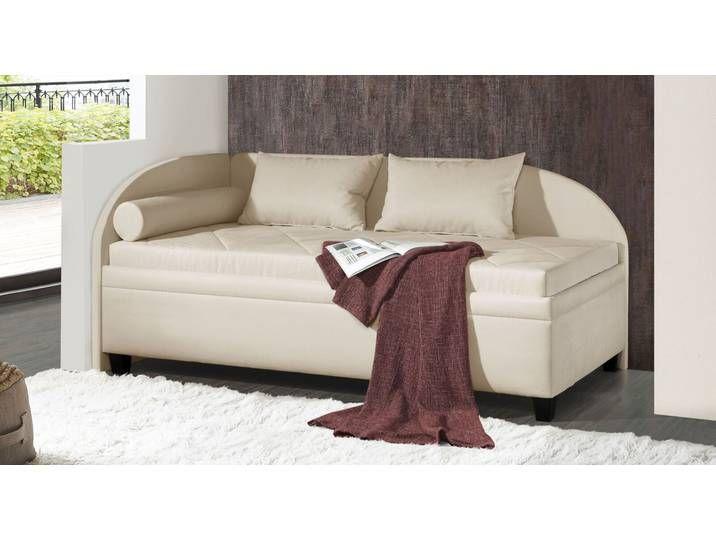 Elegante Studioliege Kamina Komfort mit Rücken- und Seitenteil; in vielen Ausführungen auch mit Lattenrost und Matratze erhältlich; Microvelours-Bez