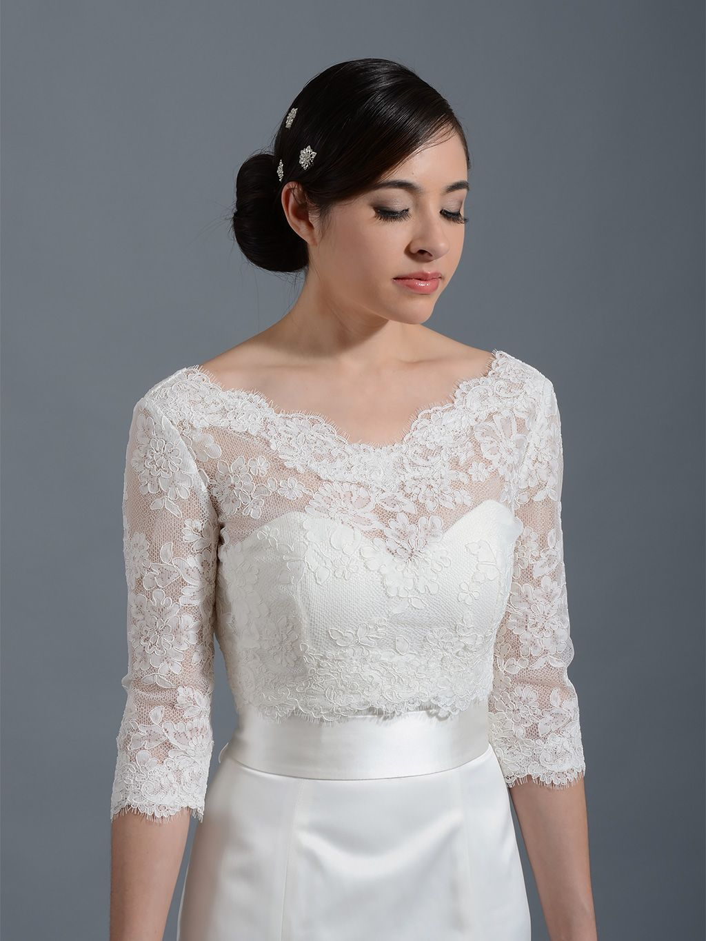 Make any dress long sleeve and pretty v neck alencon lace for Wedding dress lace bolero