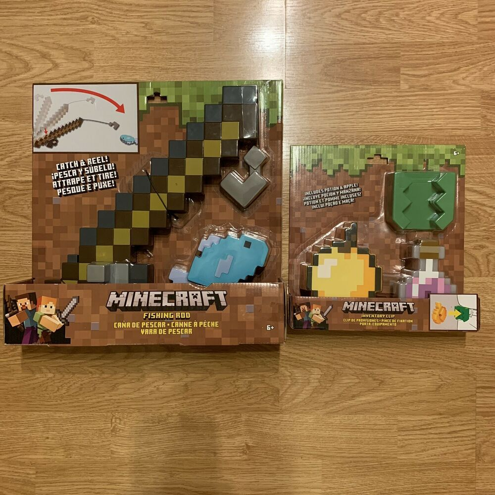 Minecraft Fishing Pole & Inventory Clip Lot Roleplay Toy