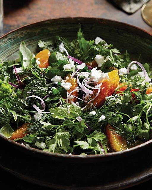 Persian Mixed Herb Salad with Honey-Lemon Dressing