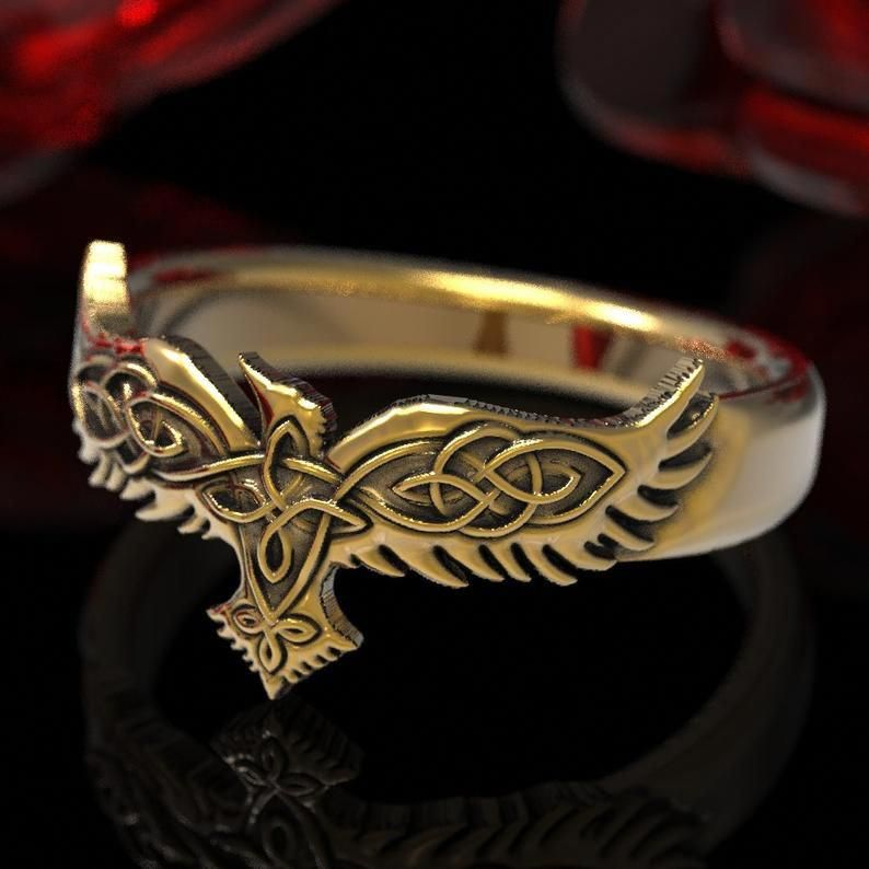 Sterling Silver Celtic Raven Band 1280 Hugin and Munin Celtic Raven Ring Raven Wedding Band Celtic Knot Raven Ring Norse Raven Ring