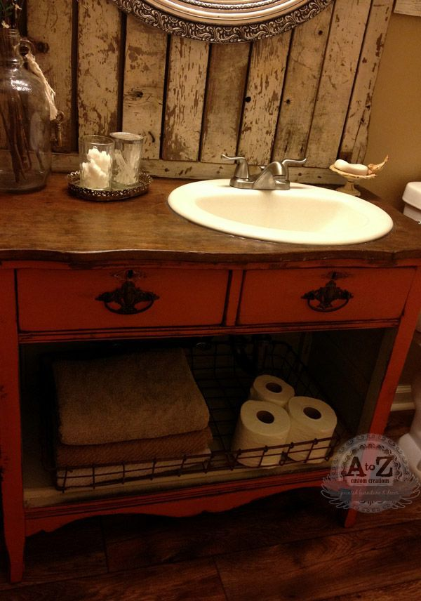 RePurposed Bathroom Vanity From Antique Chest