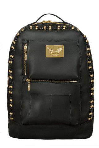 d766863a128 Black Leather Jet Black Swarovski Backpack