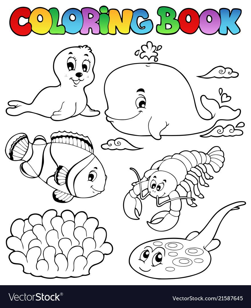 Coloring Book Various Sea Animals 3 Vector Image On Vectorstock Coloring Books Animal Coloring Books Butterfly Coloring Page
