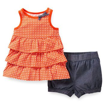 c143ab08d 2-Piece Ruffled Top Chambray Short Set | bebes | Baby, Carters baby ...