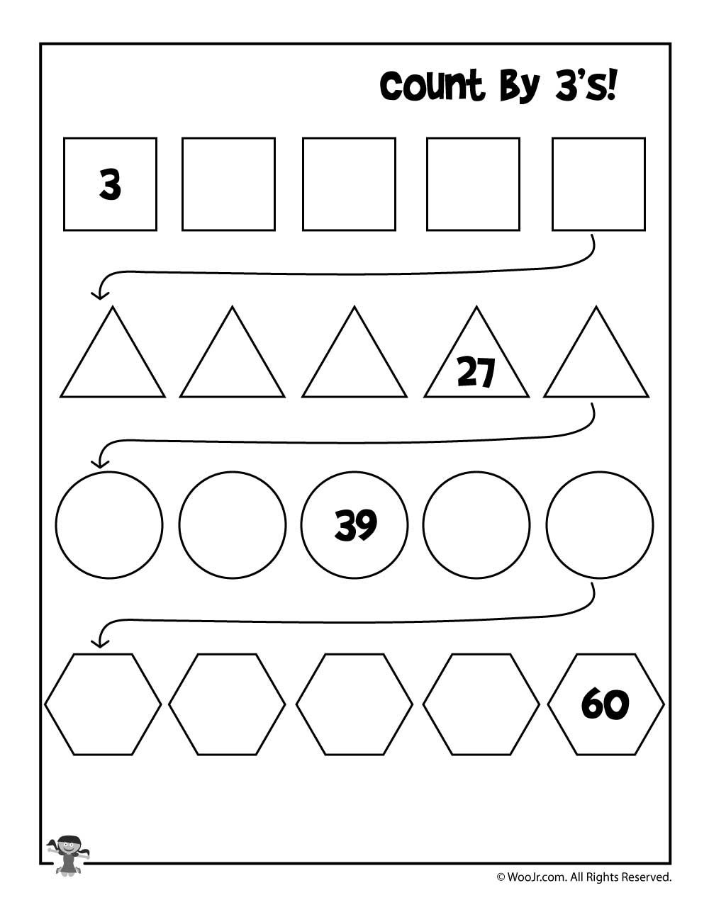 Count by 3's Worksheet Skip counting worksheets