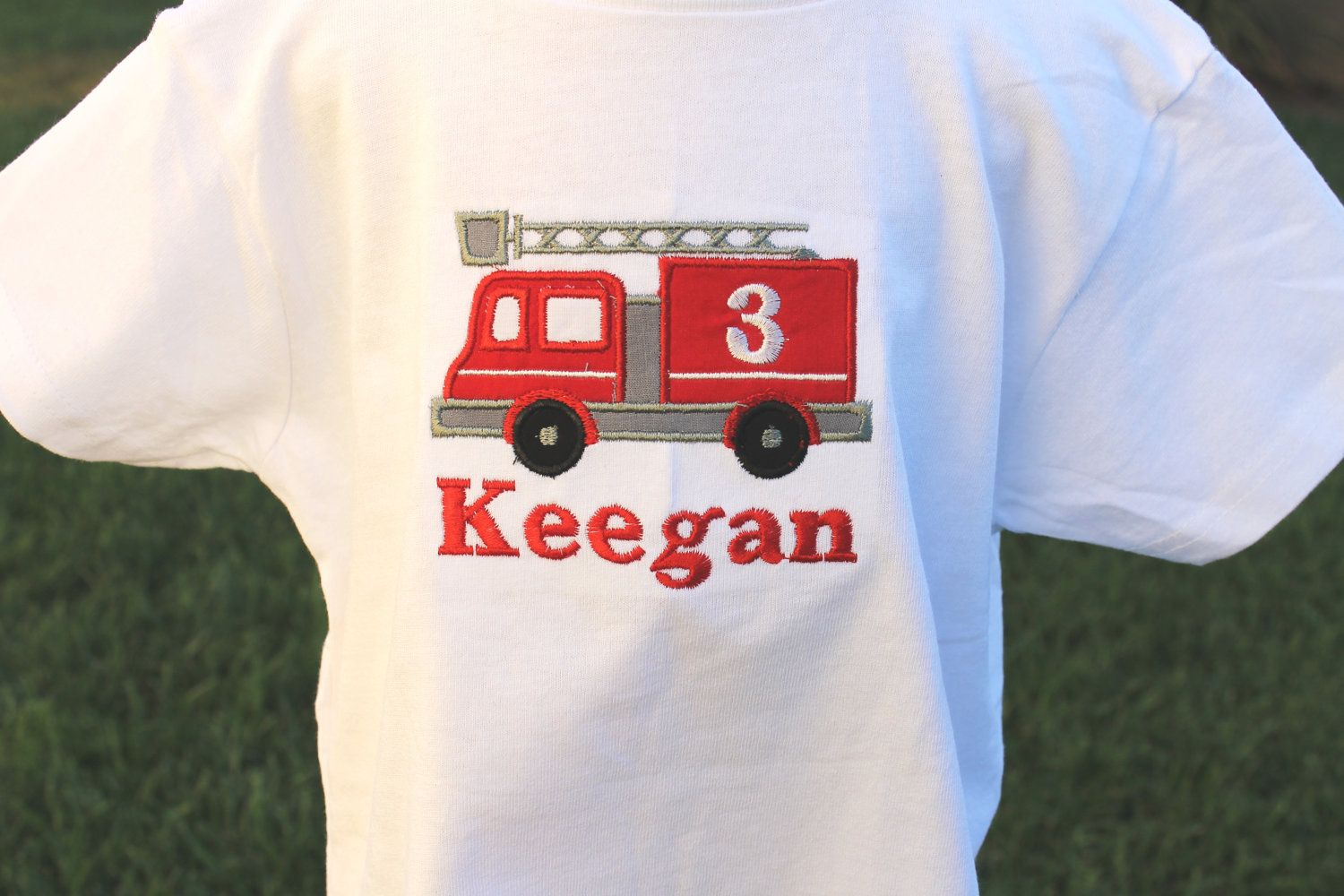 Fire Engine Shirt Birthday Or Onesie For Little Boy Firemans Outfit Baby Infant Toddler Child Personalized With A Name 2300 Via Etsy