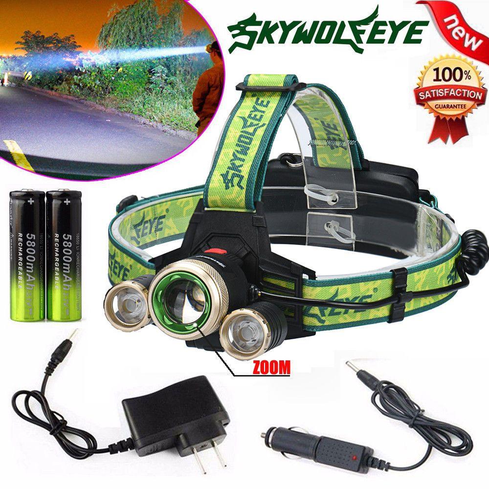 Zoom 15000lm Headlamp Cree Xm L 3 X T6 Led Headlight Charger High Power 5000 Lumens Black 18650