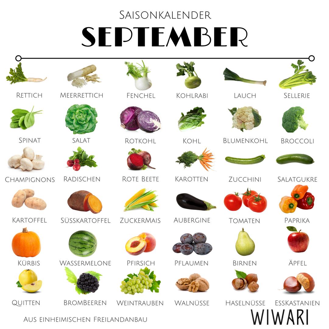 Saisongemüse ist zentral für Gesundheit und Figur, September hat eine grosse Auswahl bereit!